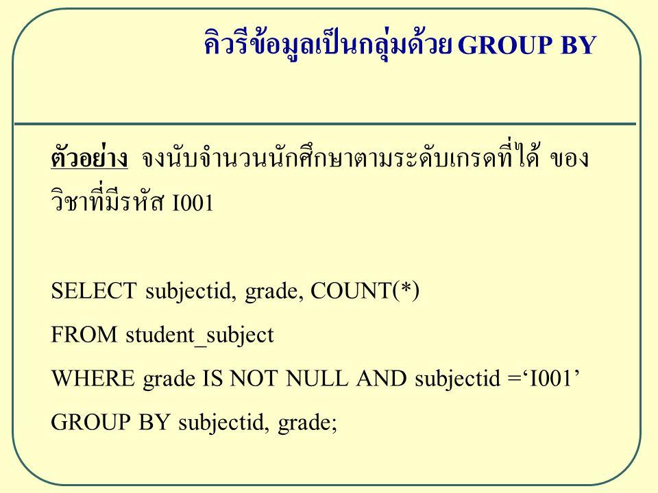 ตัวอย่าง จงนับจำนวนนักศึกษาตามระดับเกรดที่ได้ ของ วิชาที่มีรหัส I001 SELECT subjectid, grade, COUNT(*) FROM student_subject WHERE grade IS NOT NULL AND subjectid ='I001' GROUP BY subjectid, grade; คิวรีข้อมูลเป็นกลุ่มด้วย GROUP BY