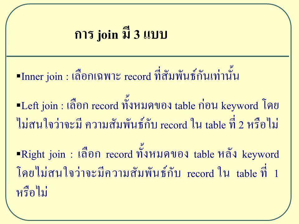 การ join มี 3 แบบ  Inner join : เลือกเฉพาะ record ที่สัมพันธ์กันเท่านั้น  Left join : เลือก record ทั้งหมดของ table ก่อน keyword โดย ไม่สนใจว่าจะมี ความสัมพันธ์กับ record ใน table ที่ 2 หรือไม่  Right join : เลือก record ทั้งหมดของ table หลัง keyword โดยไม่สนใจว่าจะมีความสัมพันธ์กับ record ใน table ที่ 1 หรือไม่