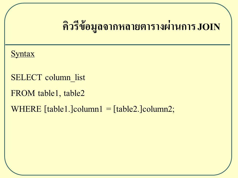 คิวรีข้อมูลจากหลายตารางผ่านการ JOIN Syntax SELECT column_list FROM table1, table2 WHERE [table1.]column1 = [table2.]column2;