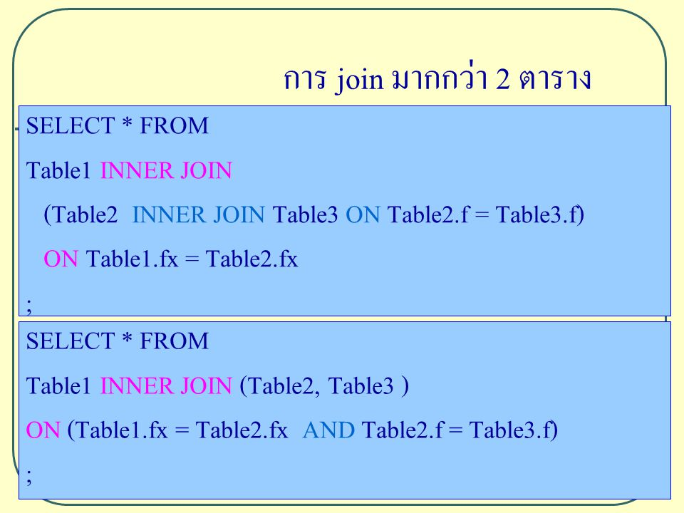 SELECT * FROM Table1 INNER JOIN (Table2 INNER JOIN Table3 ON Table2.f = Table3.f) ON Table1.fx = Table2.fx ; SELECT * FROM Table1 INNER JOIN (Table2, Table3 ) ON (Table1.fx = Table2.fx AND Table2.f = Table3.f) ; การ join มากกว่า 2 ตาราง