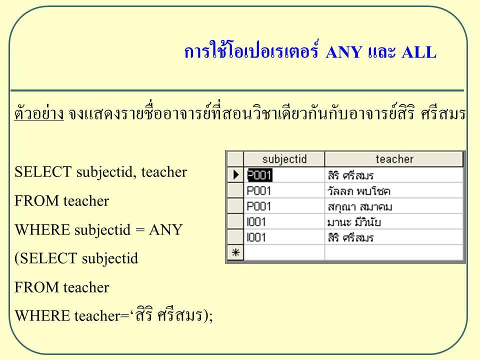 ตัวอย่าง จงแสดงรายชื่ออาจารย์ที่สอนวิชาเดียวกันกับอาจารย์สิริ ศรีสมร SELECT subjectid, teacher FROM teacher WHERE subjectid = ANY (SELECT subjectid FROM teacher WHERE teacher='สิริ ศรีสมร); การใช้โอเปอเรเตอร์ ANY และ ALL