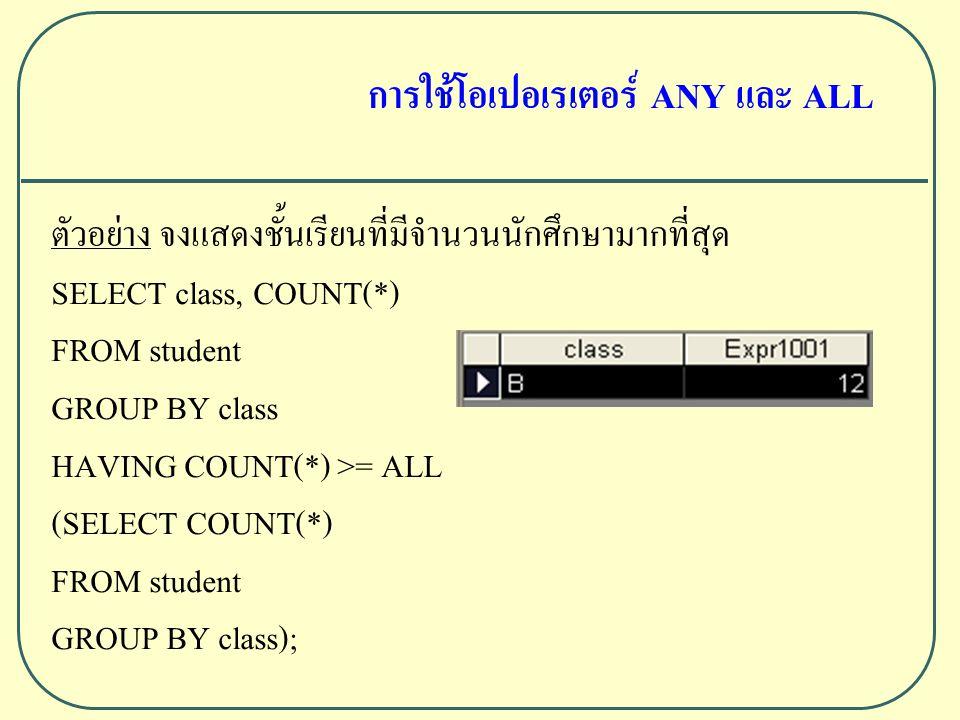 ตัวอย่าง จงแสดงชั้นเรียนที่มีจำนวนนักศึกษามากที่สุด SELECT class, COUNT(*) FROM student GROUP BY class HAVING COUNT(*) >= ALL (SELECT COUNT(*) FROM student GROUP BY class); การใช้โอเปอเรเตอร์ ANY และ ALL