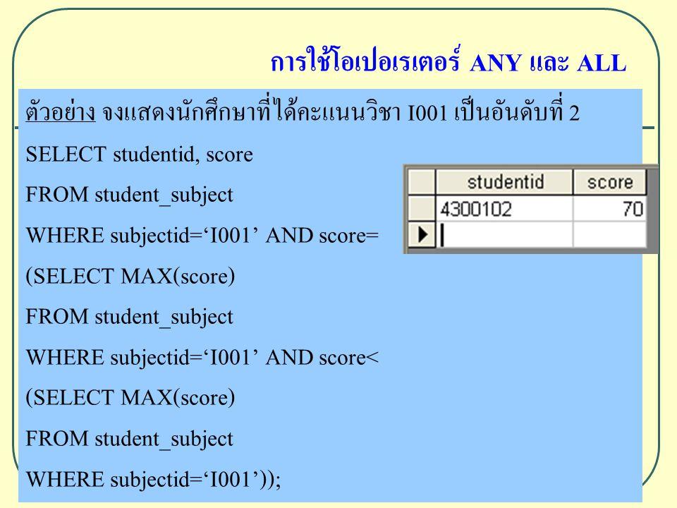 ตัวอย่าง จงแสดงนักศึกษาที่ได้คะแนนวิชา I001 เป็นอันดับที่ 2 SELECT studentid, score FROM student_subject WHERE subjectid='I001' AND score= (SELECT MAX(score) FROM student_subject WHERE subjectid='I001' AND score< (SELECT MAX(score) FROM student_subject WHERE subjectid='I001')); การใช้โอเปอเรเตอร์ ANY และ ALL
