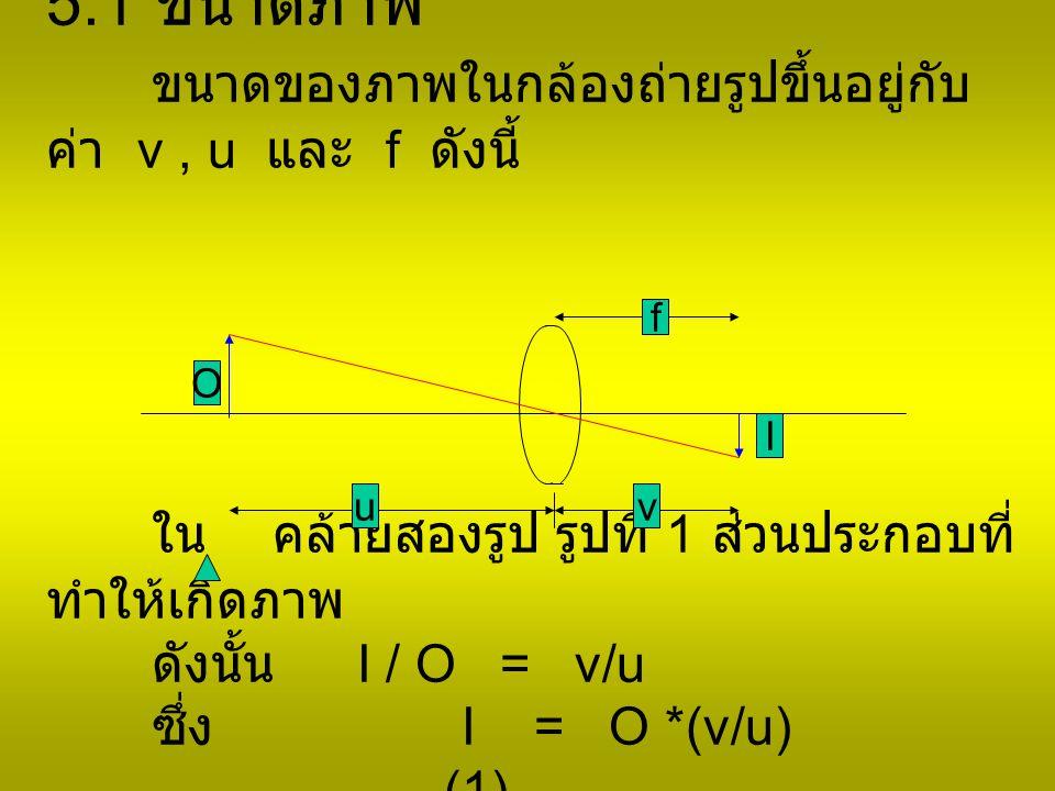 5.1 ขนาดภาพ ขนาดของภาพในกล้องถ่ายรูปขึ้นอยู่กับ ค่า v, u และ f ดังนี้ ใน คล้ายสองรูป รูปที่ 1 ส่วนประกอบที่ ทำให้เกิดภาพ ดังนั้น I / O = v/u ซึ่ง I = O *(v/u) ……………..(1) O uv f I