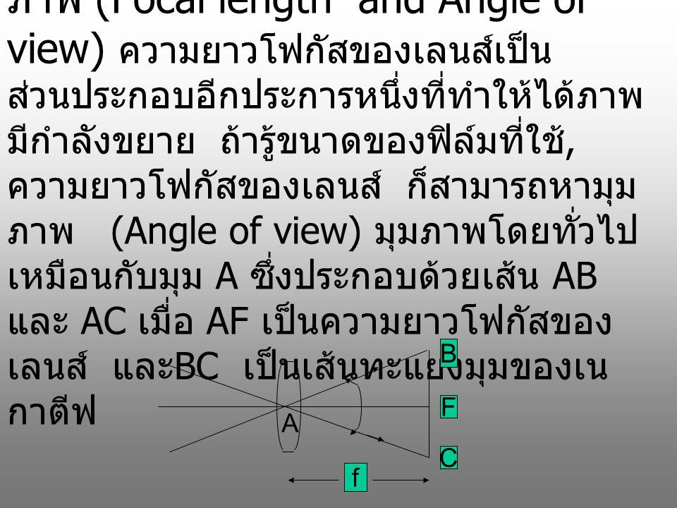 ถ้าวัตถุอยู่ไกล ภาพจะเกิดระหว่าง จุดโฟกัสของเลนส์ ( ยกเว้นวัตถุอยู่ใกล้ ) หรืออาจจะมีค่า มากกว่าเล็กน้อยซึ่งอาจถือได้ว่า f เกือบเท่ากับ v I = o *(f/u) ………………….(2) หรือ I/O = f/u นั่นคือ m = f/u …………………(3) เมื่อ m คือกำลังขยายของ ภาพที่เกิดบนฟิล์ม