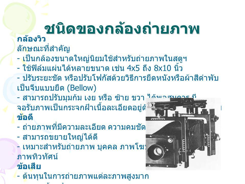 ชนิดของกล้องถ่ายภาพ กล้องดิจิตอล ตั้งแต่อดีต จนถึงปัจจุบันกล้องถ่ายภาพได้มีการ พัฒนาอย่างไม่หยุดนิ่ง ได้มีการนำเอาระบบดิจิตอล (Digital) ที่มีความสะดวก รวดเร็วและมีความแม่นยำใน การถ่ายภาพทำให้รูปแบบของกล้องถ่ายภาพได้ เปลี่ยนจากการบันทึกภาพด้วยฟิล์มมาเป็น การบันทึก ภาพด้วยระบบหน่วยความจำ (Memory) และสามารถ แสดงผลได้ทั้งทางจอภาพคอม์ (Monitor) และ แสดงผลหรือพิมพ์ภาพผ่านเครื่องพิมพ์ (Printer)