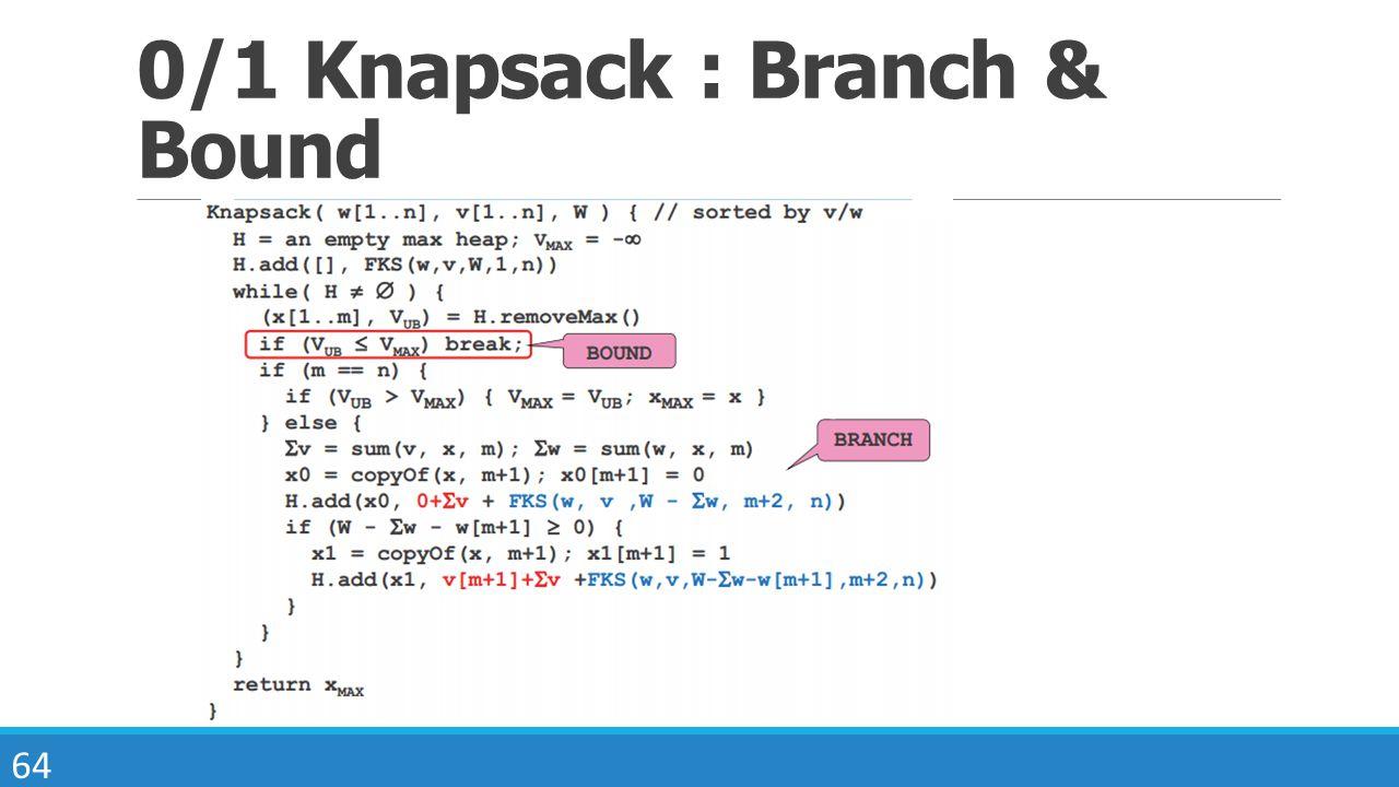 64 0/1 Knapsack : Branch & Bound