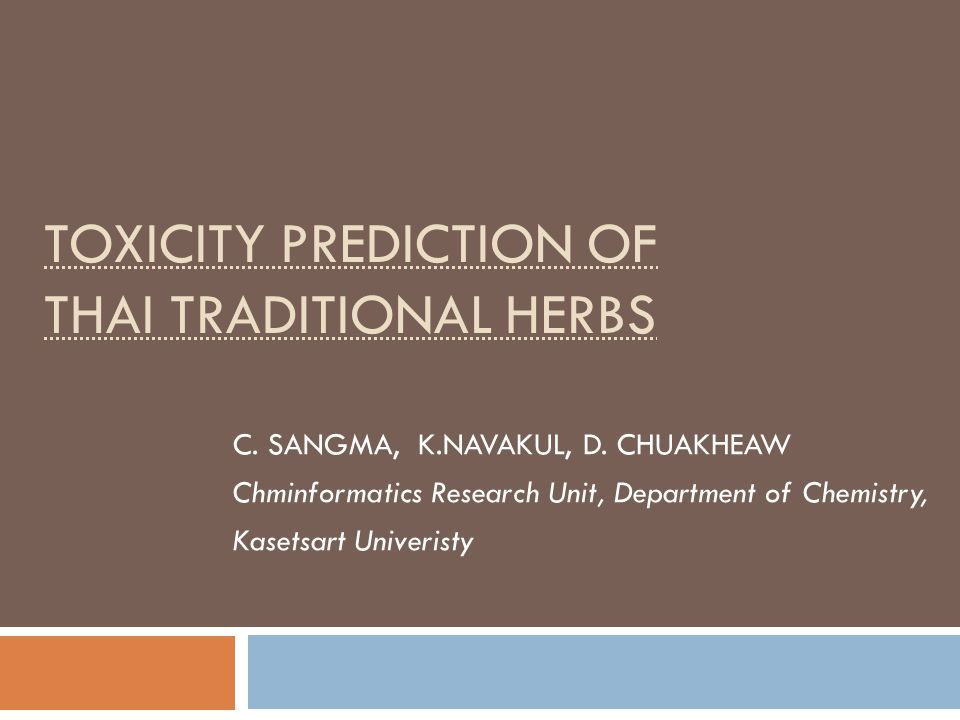 Herbal usage in Thai traditional medicine  More than one plant species  Some reported as toxic e.g.