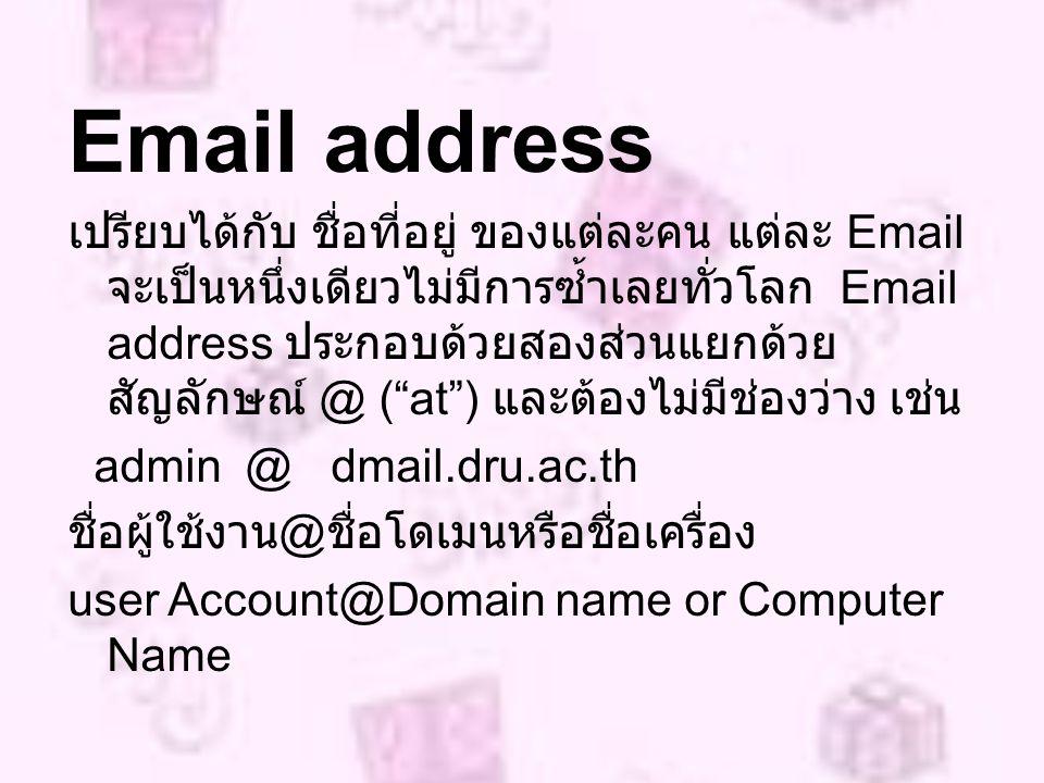 Email address เปรียบได้กับ ชื่อที่อยู่ ของแต่ละคน แต่ละ Email จะเป็นหนึ่งเดียวไม่มีการซ้ำเลยทั่วโลก Email address ประกอบด้วยสองส่วนแยกด้วย สัญลักษณ์ @