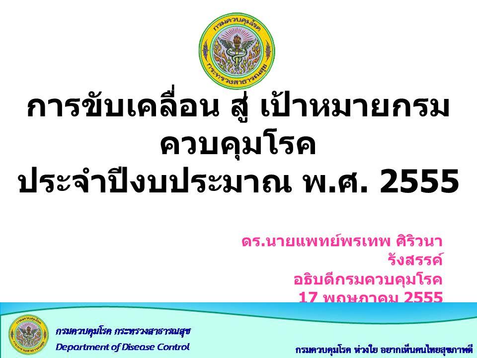 วิสัยทัศน์ กรมควบคุมโรค ปี 2563 เป็นองค์กรชั้นนำระดับนานาชาติ ที่สังคมเชื่อถือและไว้วางใจ เพื่อปกป้องประชาชนจากโรคและภัย สุขภาพ ด้วยความเป็นเลิศทางวิชาการ ภายใน ปี 2563 2