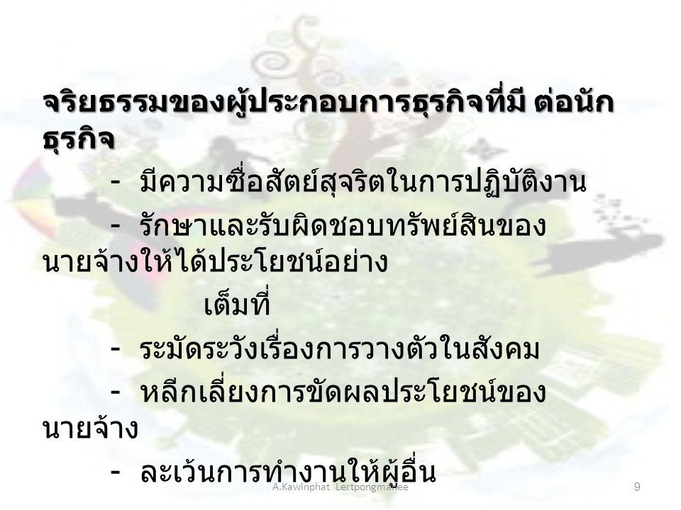 ธรรมาภิบาล ( ธรรมาภิบาล (Good Governance) บรรษัทภิบาล (Corporate Governance) แล ะ A.Kawinphat Lertpongmanee10