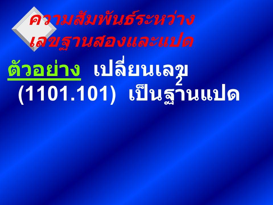 ความสัมพันธ์ระหว่าง เลขฐานสองและแปด ตัวอย่าง เปลี่ยนเลข (1101.101) เป็นฐานแปด 2