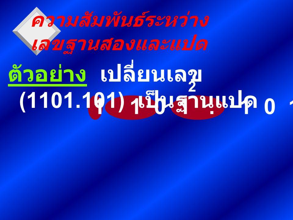 1 1 0 1. 1 0 1 ความสัมพันธ์ระหว่าง เลขฐานสองและแปด ตัวอย่าง เปลี่ยนเลข (1101.101) เป็นฐานแปด 2