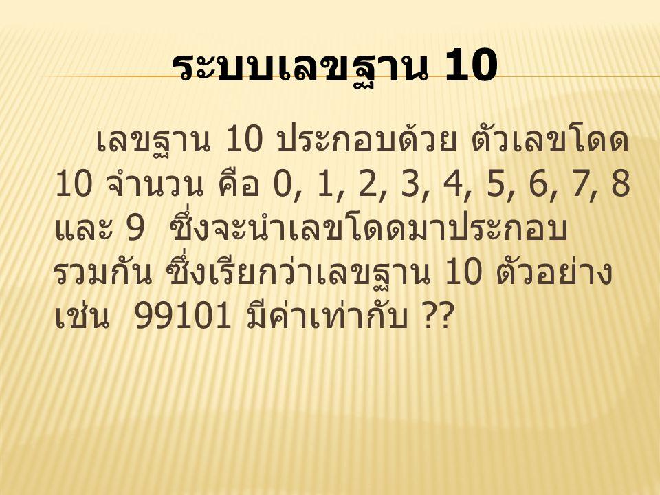 เลขฐาน 10 ประกอบด้วย ตัวเลขโดด 10 จำนวน คือ 0, 1, 2, 3, 4, 5, 6, 7, 8 และ 9 ซึ่งจะนำเลขโดดมาประกอบ รวมกัน ซึ่งเรียกว่าเลขฐาน 10 ตัวอย่าง เช่น 99101 มี