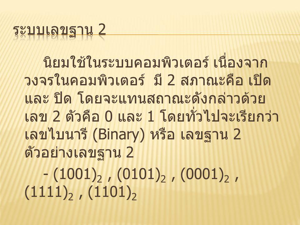 นิยมใช้ในระบบคอมพิวเตอร์ เนื่องจาก วงจรในคอมพิวเตอร์ มี 2 สภาณะคือ เปิด และ ปิด โดยจะแทนสถาณะดังกล่าวด้วย เลข 2 ตัวคือ 0 และ 1 โดยทั่วไปจะเรียกว่า เลข