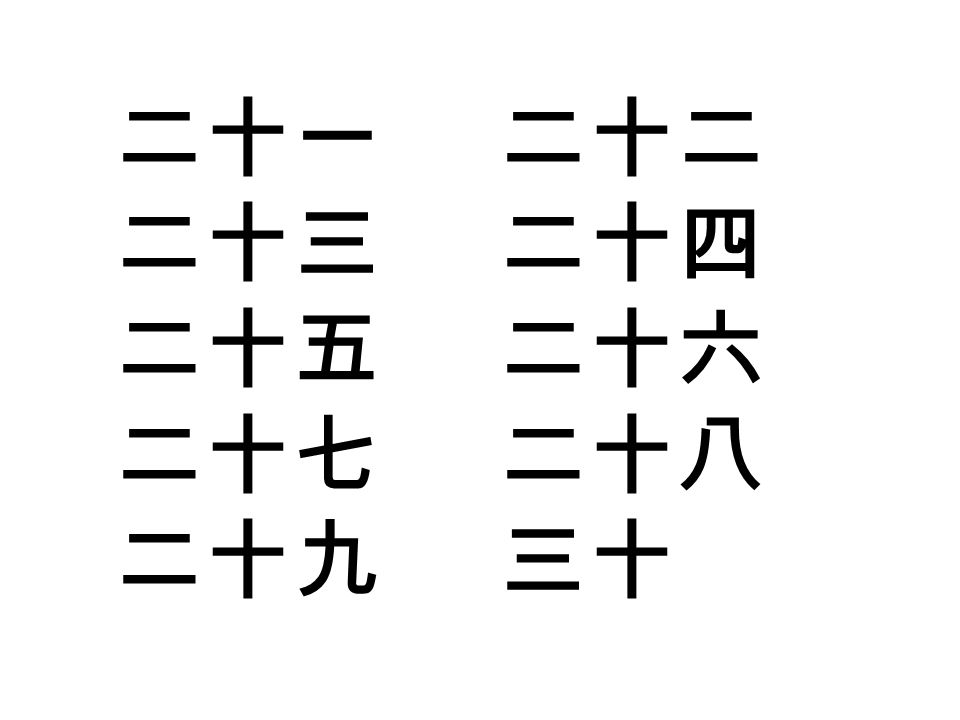 ๔.เขียนตัวเลขดังต่อไปนี้เป็นพินอิน ( 拼音 Pīnyīn) 四十五十六八 十二 二十一九十七 七十三 十二六十四 三十八 三十五六十七 四十一 ๕.