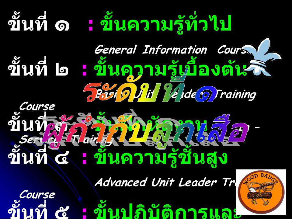 ขั้นที่ ๑ : ขั้นความรู้ทั่วไป General Information Course ขั้นที่ ๒ : ขั้นความรู้เบื้องต้น Basic Unit Leader Training Course ขั้นที่ ๓ : ขั้นฝึกหัดงาน In – Service Training ขั้นที่ ๔ : ขั้นความรู้ชั้นสูง Advanced Unit Leader Training Course ขั้นที่ ๕ : ขั้นปฏิบัติการและ ประเมินผล Application and Evaluation