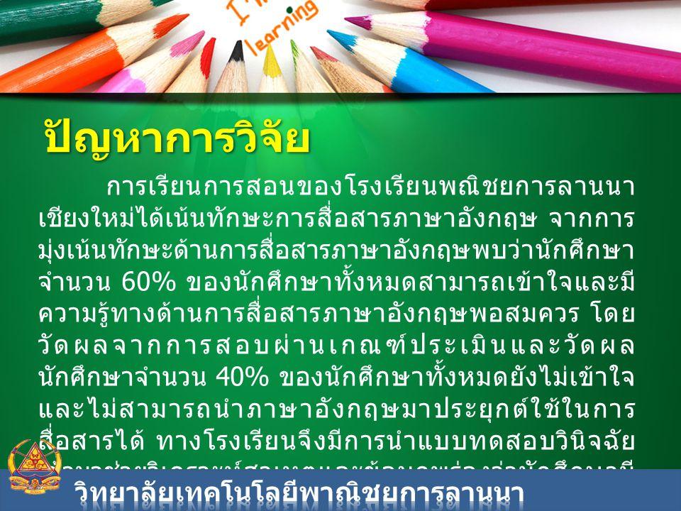 การเรียนการสอนของโรงเรียนพณิชยการลานนา เชียงใหม่ได้เน้นทักษะการสื่อสารภาษาอังกฤษ จากการ มุ่งเน้นทักษะด้านการสื่อสารภาษาอังกฤษพบว่านักศึกษา จำนวน 60% ข