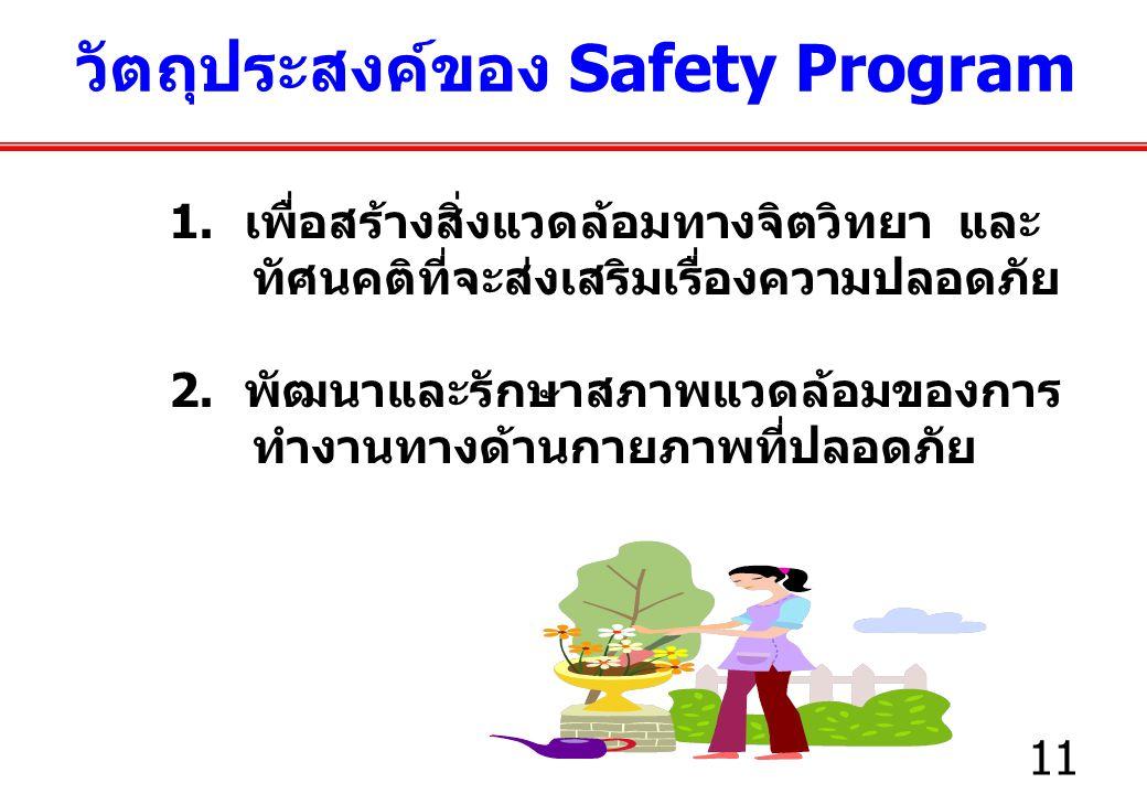 11 1.เพื่อสร้างสิ่งแวดล้อมทางจิตวิทยา และ ทัศนคติที่จะส่งเสริมเรื่องความปลอดภัย 2.
