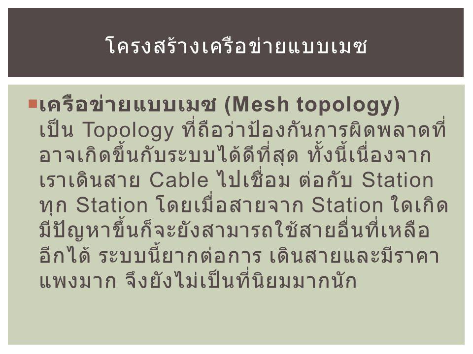  เครือข่ายแบบเมซ (Mesh topology) เป็น Topology ที่ถือว่าป้องกันการผิดพลาดที่ อาจเกิดขึ้นกับระบบได้ดีที่สุด ทั้งนี้เนื่องจาก เราเดินสาย Cable ไปเชื่อม