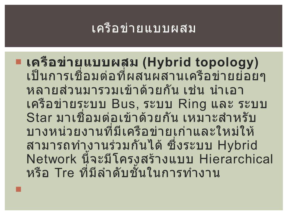  เครือข่ายแบบผสม (Hybrid topology) เป็นการเชื่อมต่อที่ผสนผสานเครือข่ายย่อยๆ หลายส่วนมารวมเข้าด้วยกัน เช่น นำเอา เครือข่ายระบบ Bus, ระบบ Ring และ ระบบ