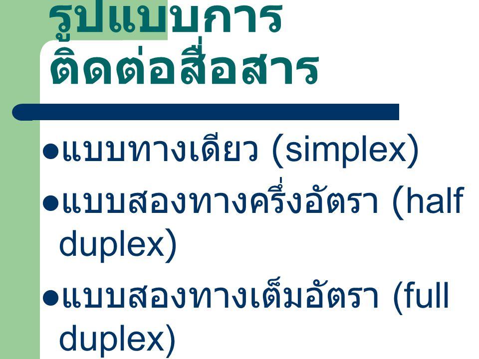 รูปแบบการ ติดต่อสื่อสาร แบบทางเดียว (simplex) แบบสองทางครึ่งอัตรา (half duplex) แบบสองทางเต็มอัตรา (full duplex)