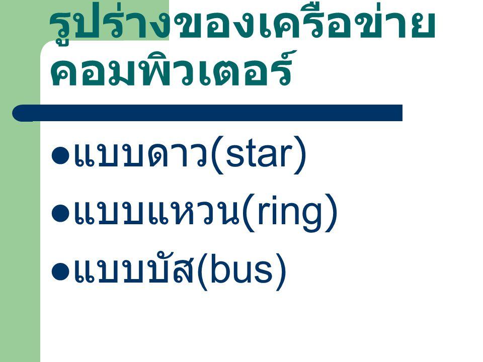 รูปร่างของเครือข่าย คอมพิวเตอร์ แบบดาว (star) แบบแหวน (ring) แบบบัส (bus)