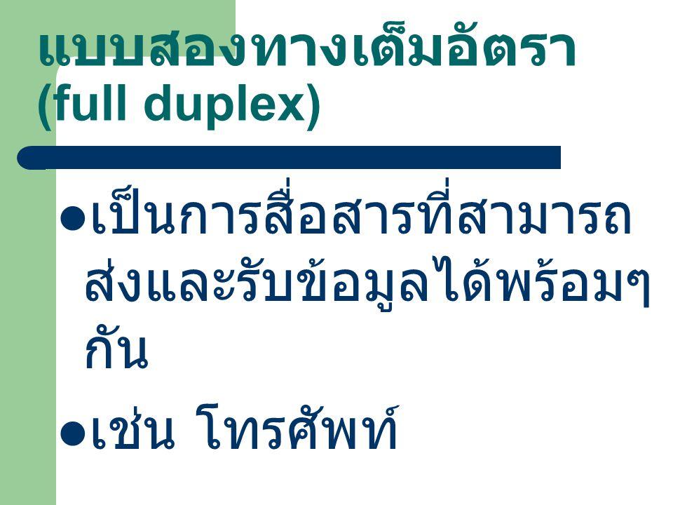 แบบสองทางเต็มอัตรา (full duplex) เป็นการสื่อสารที่สามารถ ส่งและรับข้อมูลได้พร้อมๆ กัน เช่น โทรศัพท์