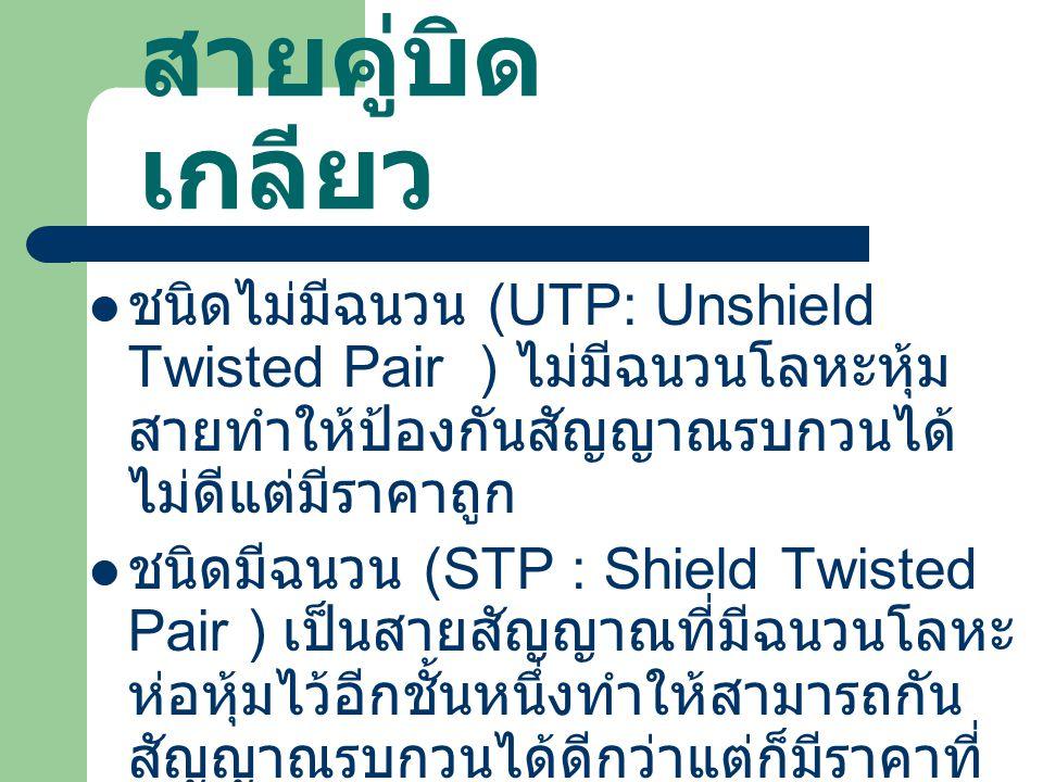 สายคู่บิด เกลียว ชนิดไม่มีฉนวน (UTP: Unshield Twisted Pair ) ไม่มีฉนวนโลหะหุ้ม สายทำให้ป้องกันสัญญาณรบกวนได้ ไม่ดีแต่มีราคาถูก ชนิดมีฉนวน (STP : Shield Twisted Pair ) เป็นสายสัญญาณที่มีฉนวนโลหะ ห่อหุ้มไว้อีกชั้นหนึ่งทำให้สามารถกัน สัญญาณรบกวนได้ดีกว่าแต่ก็มีราคาที่ แพงขึ้น