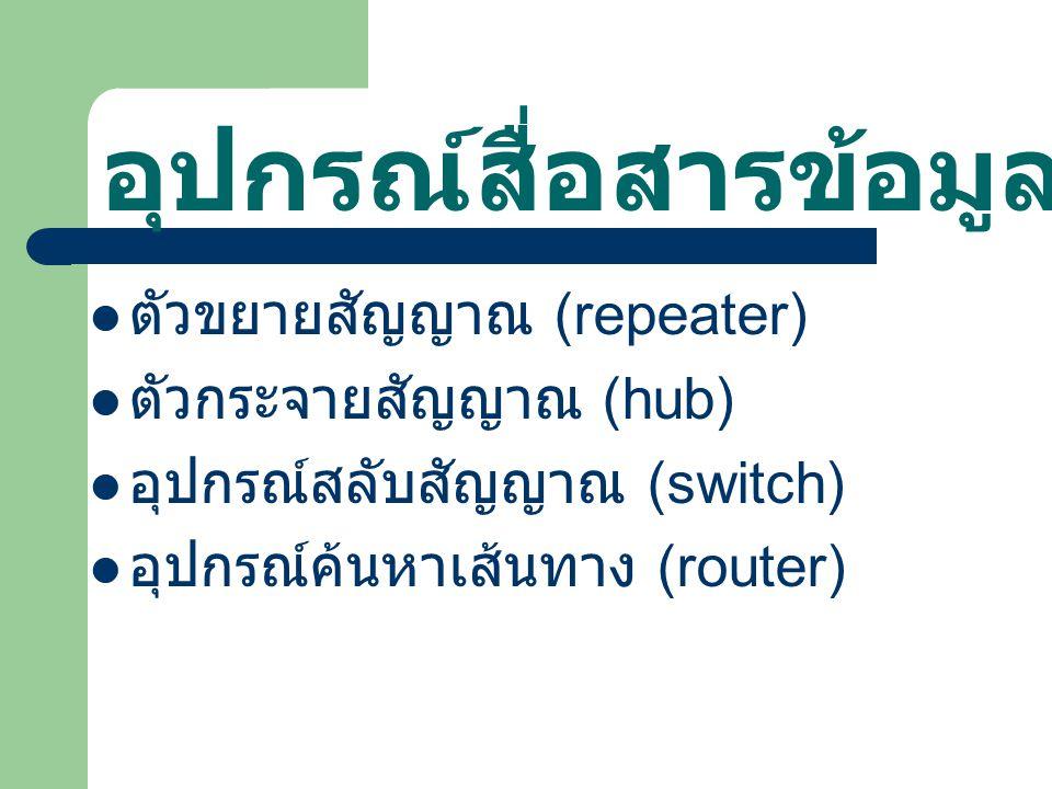 อุปกรณ์สื่อสารข้อมูล ตัวขยายสัญญาณ (repeater) ตัวกระจายสัญญาณ (hub) อุปกรณ์สลับสัญญาณ (switch) อุปกรณ์ค้นหาเส้นทาง (router)