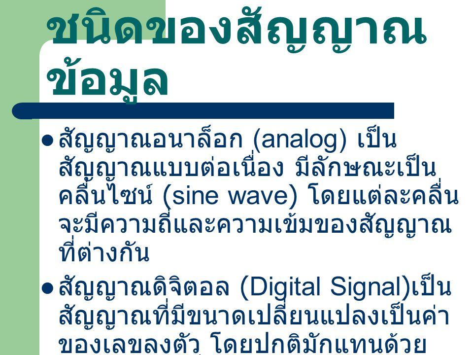 ชนิดของสัญญาณ ข้อมูล สัญญาณอนาล็อก (analog) เป็น สัญญาณแบบต่อเนื่อง มีลักษณะเป็น คลื่นไซน์ (sine wave) โดยแต่ละคลื่น จะมีความถี่และความเข้มของสัญญาณ ที่ต่างกัน สัญญาณดิจิตอล (Digital Signal) เป็น สัญญาณที่มีขนาดเปลี่ยนแปลงเป็นค่า ของเลขลงตัว โดยปกติมักแทนด้วย ระดับแรงดันที่แสดงสถานะเป็น 0 และ 1