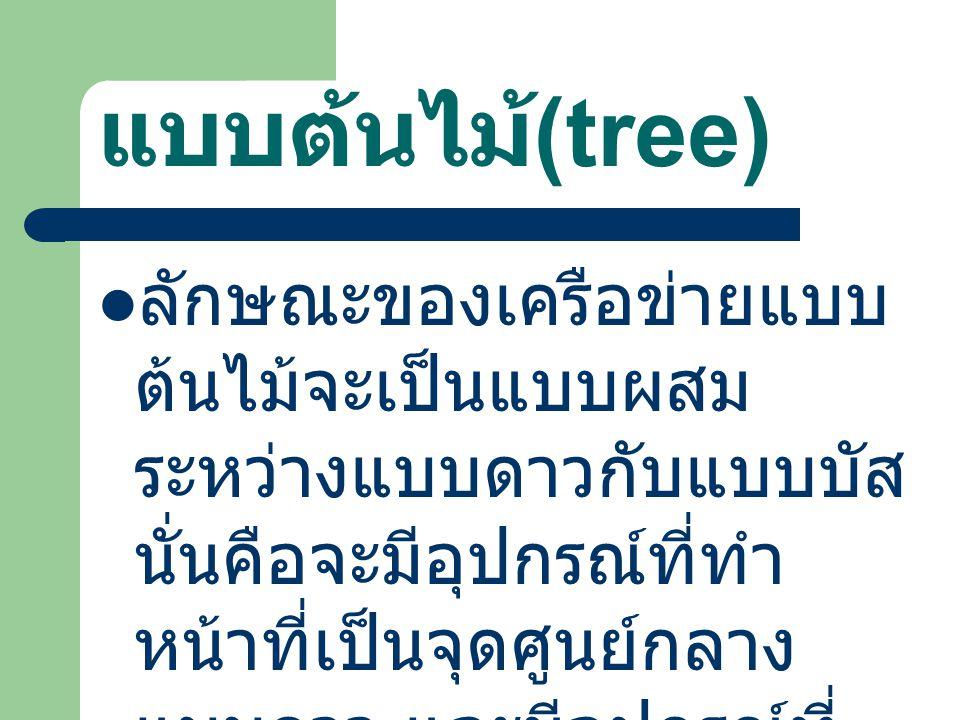 แบบต้นไม้ (tree) ลักษณะของเครือข่ายแบบ ต้นไม้จะเป็นแบบผสม ระหว่างแบบดาวกับแบบบัส นั่นคือจะมีอุปกรณ์ที่ทำ หน้าที่เป็นจุดศูนย์กลาง แบบดาว และมีอุปกรณ์ที่ เชื่อมต่อกันทั้งหมดแบบ ต้นไม้