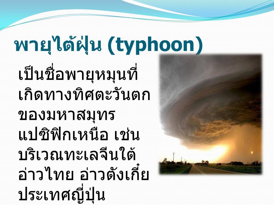 พายุไต้ฝุ่น (typhoon) เป็นชื่อพายุหมุนที่ เกิดทางทิศตะวันตก ของมหาสมุทร แปซิฟิกเหนือ เช่น บริเวณทะเลจีนใต้ อ่าวไทย อ่าวตังเกี๋ย ประเทศญี่ปุ่น