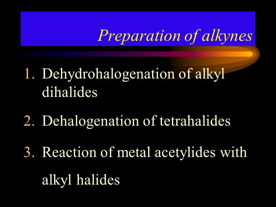 Dehydrohalogenation of alkyl dihalides