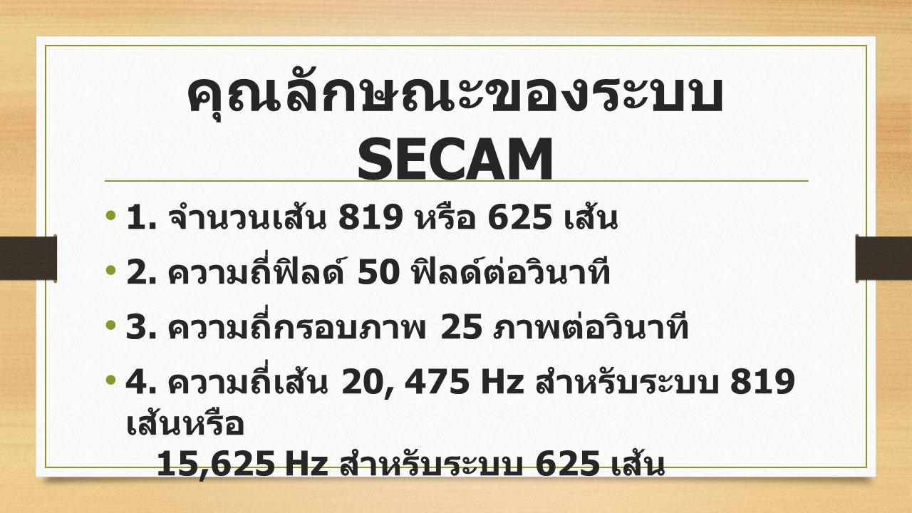 3. ระบบ SECAM (Sequential Colour A Memory) ผู้คิดค้นคือ เฮนรี่ ดี ฟรานซ์ (Henri de Frange) ชาวฝรั่งเศส คำว่า SECAM ย่อมาจาก Sequential Colcur A. Memor
