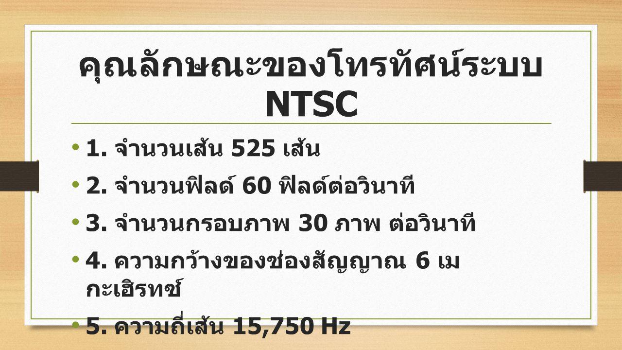 1. ระบบ NTSC (National Television Systems Communication) เป็นโทรทัศน์สีระบบแรกของโลก ผลิตในสหรัฐอเมริกาโดย คณะกรรมการระบบโทรทัศน์ ได้ สาธิตการใช้ครั้ง