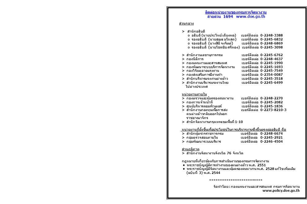 ติดต่อหน่วยงานของกรมการจัดหางาน สายด่วน 1694 สายด่วน 1694 www.doe.go.th ส่วนกลาง > สำนักอธิบดี ๏ อธิบดี(นายประวิทย์ เคียงผล) เบอร์ติดต่อ0-2248-3388 ๏