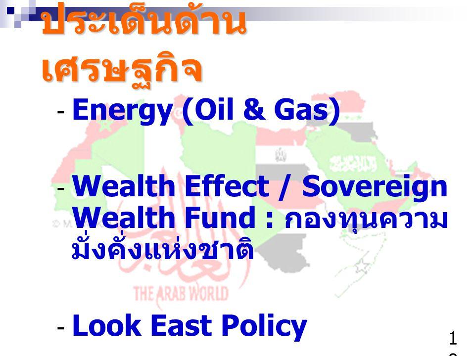ประเด็นด้าน เศรษฐกิจ - Energy (Oil & Gas) - Wealth Effect / Sovereign Wealth Fund : กองทุนความ มั่งคั่งแห่งชาติ - Look East Policy 1010