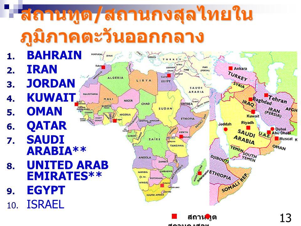 สถานทูต / สถานกงสุลไทยใน ภูมิภาคตะวันออกกลาง 1. BAHRAIN 2. IRAN 3. JORDAN 4. KUWAIT 5. OMAN 6. QATAR 7. SAUDI ARABIA** 8. UNITED ARAB EMIRATES** 9. EG
