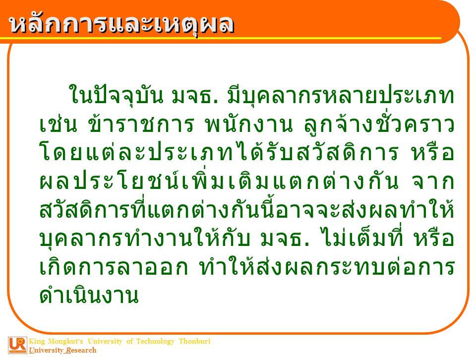 King Mongkut ' s University of Technology Thonburi University Research หลักการและเหตุผล ในปัจจุบัน มจธ. มีบุคลากรหลายประเภท เช่น ข้าราชการ พนักงาน ลูก