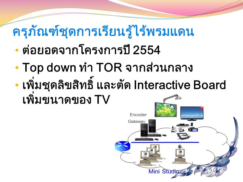 ครุภัณฑ์ชุดการเรียนรู้ไร้พรมแดน ต่อยอดจากโครงการปี 2554 Top down ทำ TOR จากส่วนกลาง เพิ่มชุดลิขสิทธิ์ และตัด Interactive Board เพิ่มขนาดของ TV