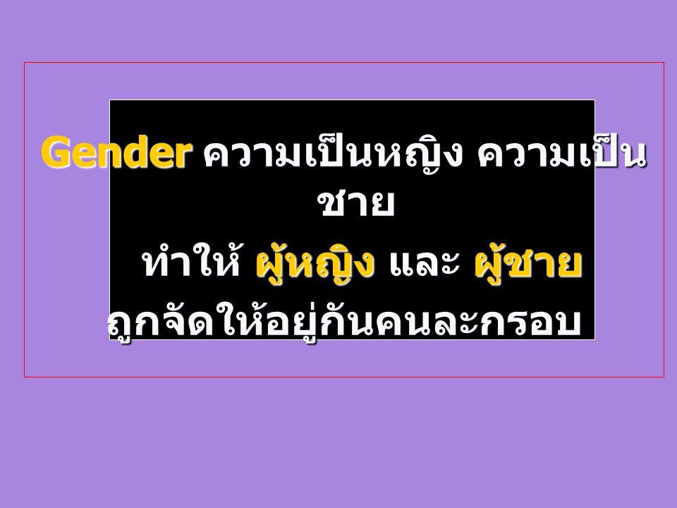 Gender ความเป็นหญิง ความเป็น ชาย ทำให้ ผู้หญิง และ ผู้ชาย ทำให้ ผู้หญิง และ ผู้ชายถูกจัดให้อยู่กันคนละกรอบ