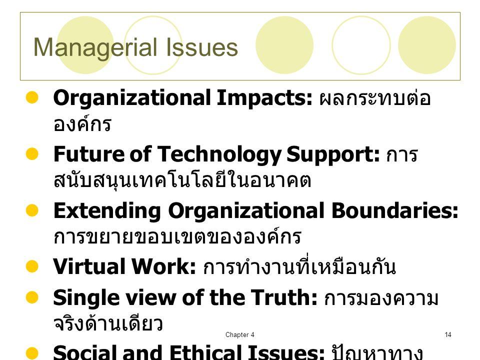 Chapter 414 Managerial Issues Organizational Impacts: ผลกระทบต่อ องค์กร Future of Technology Support: การ สนับสนุนเทคโนโลยีในอนาคต Extending Organizational Boundaries: การขยายขอบเขตขององค์กร Virtual Work: การทำงานที่เหมือนกัน Single view of the Truth: การมองความ จริงด้านเดียว Social and Ethical Issues: ปัญหาทาง สังคมและจริยธรรม