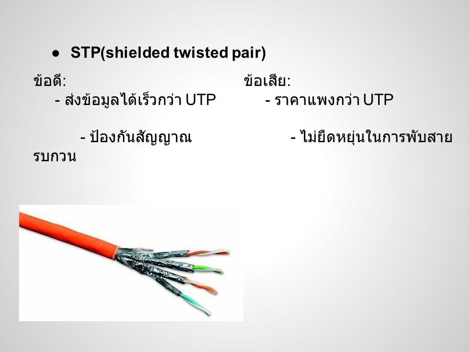 ●STP(shielded twisted pair) ข้อดี : - ส่งข้อมูลได้เร็วกว่า UTP - ป้องกันสัญญาณ รบกวน ข้อเสีย : - ราคาแพงกว่า UTP - ไม่ยืดหยุ่นในการพับสาย