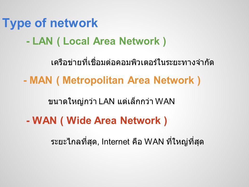 Type of network - LAN ( Local Area Network ) เครือข่ายที่เชื่อมต่อคอมพิวเตอร์ในระยะทางจำกัด - MAN ( Metropolitan Area Network ) ขนาดใหญ่กว่า LAN แต่เล