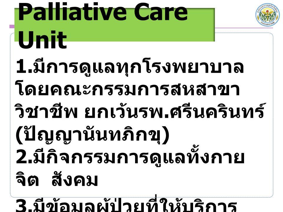 Palliative Care Unit 1. มีการดูแลทุกโรงพยาบาล โดยคณะกรรมการสหสาขา วิชาชีพ ยกเว้นรพ. ศรีนครินทร์ ( ปัญญานันทภิกขุ ) 2. มีกิจกรรมการดูแลทั้งกาย จิต สังค