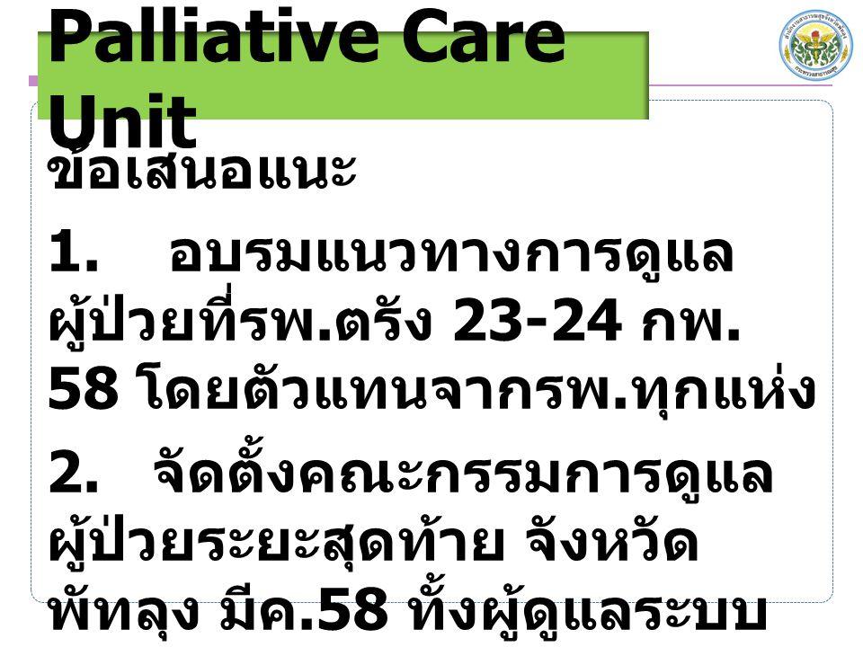 ข้อเสนอแนะ 1. อบรมแนวทางการดูแล ผู้ป่วยที่รพ. ตรัง 23-24 กพ. 58 โดยตัวแทนจากรพ. ทุกแห่ง 2. จัดตั้งคณะกรรมการดูแล ผู้ป่วยระยะสุดท้าย จังหวัด พัทลุง มีค