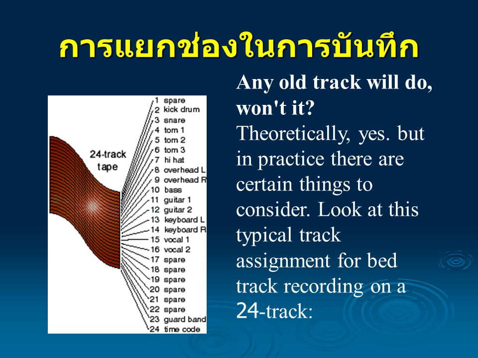 การแยกช่องในการบันทึก Any old track will do, won't it? Theoretically, yes. but in practice there are certain things to consider. Look at this typical