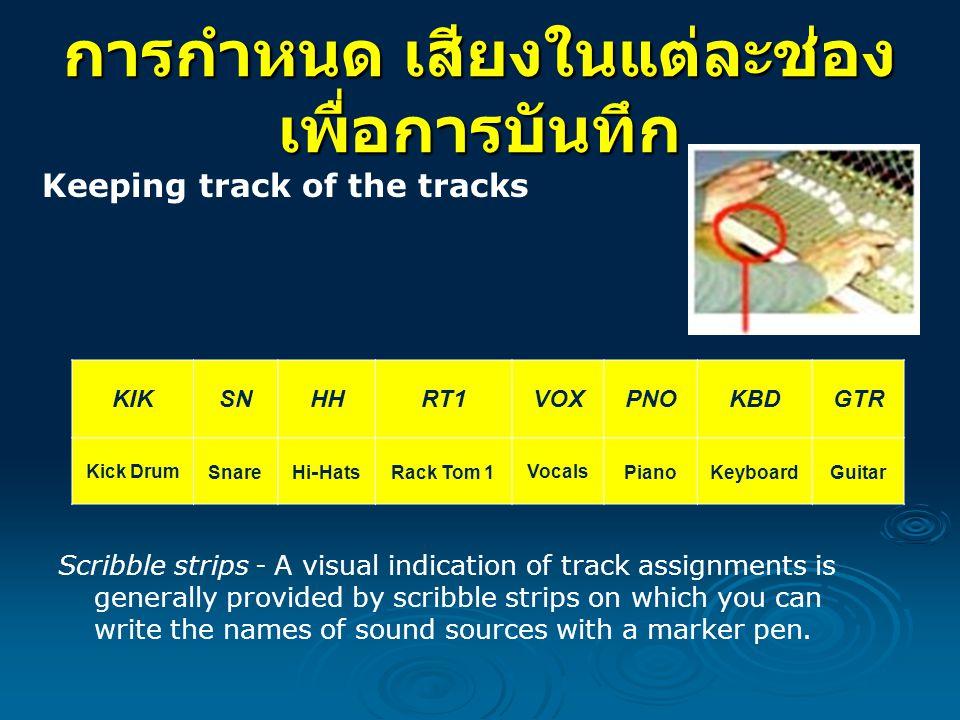 การกำหนด เสียงในแต่ละช่อง เพื่อการบันทึก Keeping track of the tracks Scribble strips - A visual indication of track assignments is generally provided