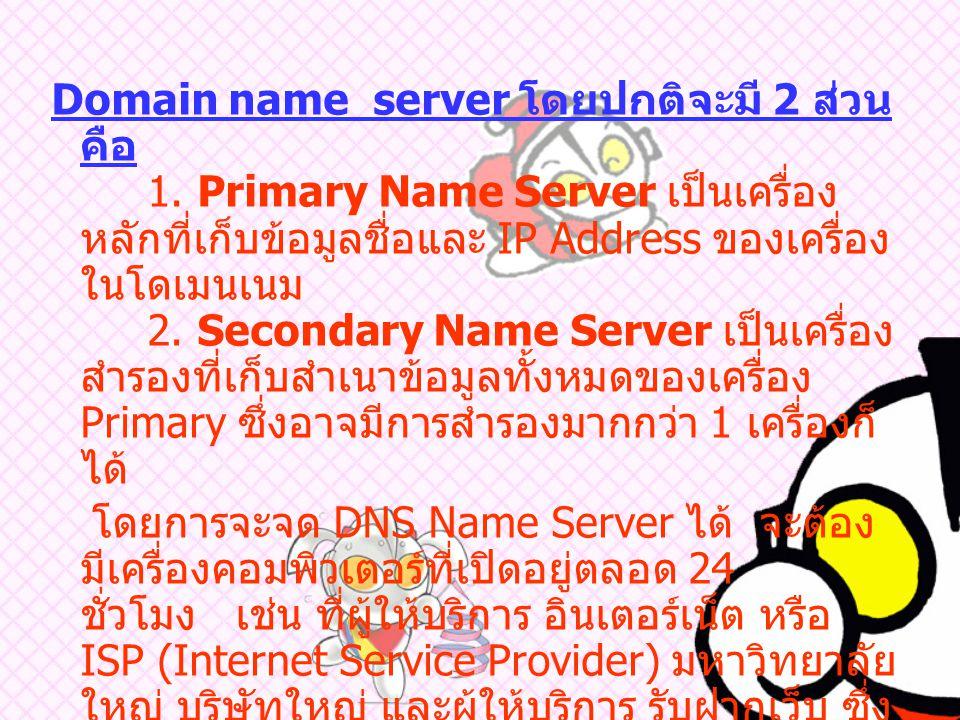 Domain Name Server (DNS) คือ สิ่งที่นำมาอ้างถึงหมายเลขเครื่อง หรือ หมายเลข IP Address เพื่อให้ง่ายต่อการจดจำ DNS จะทำหน้าที่คล้ายกับสมุดโทรศัพท์ คือ เมื่อมีคนต้องการจะโทรศัพท์หาใครคน ๆ นั้นก็ จะต้องเปิดสมุดโทรศัพท์เพื่อค้นหาเบอร์ โทรศัพท์ของคนที่ต้องการจะติดต่อคอมพิวเตอร์ ก็เช่นกัน เมื่อต้องการจะสื่อสารกับคอมพิวเตอร์ เครื่องอื่น เครื่องนั้นก็จะทำการสอบถาม หมายเลข IP ของเครื่องที่ต้องการจะสื่อสาร กับ DNS server ซึ่งจะทำการค้นหาหมายเลข ดังกล่าว ในฐานข้อมูลแล้วแจ้งให้ Host ดังกล่าว ทราบ